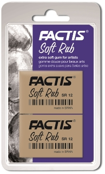 Picture of Factis Blister 2 erasers SOFT RUB for fine arts