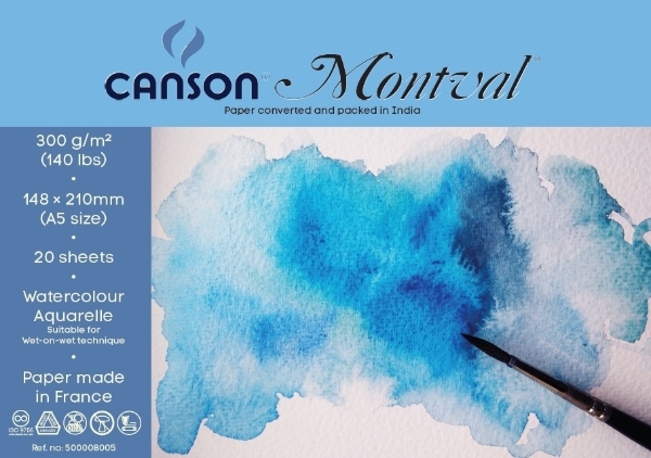 Picture of Canson Montval Polypack 300 gsm A5 size -Pack of 20+8 Sheets