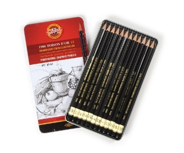 Picture of Kohinoor Toisondor Graphite Pencils Art Set of 12 (8B- 8H) Tin Box