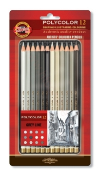 Picture of Kohinoor Polycolor - Artists Coloured Pencils Set of 12 Grey Line - (Blister pack)