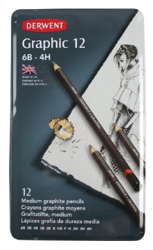 Picture of Derwent Graphic Pencils Medium Set of 12 Tin (6B-4H)