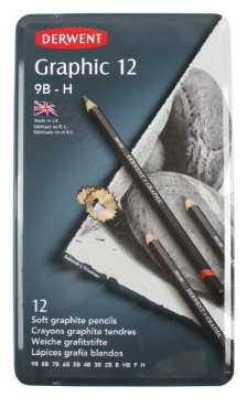 Picture of Derwent Graphic Pencils Set of 12 Tin (9B-H)