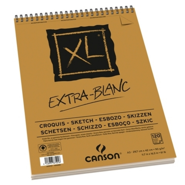 Picture of Canson XL Extra White Pad 90gsm A3 (120 Sheets)