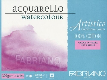 Picture of Fabriano Artistico Watercolour Blocks HP 300GSM 30.5X45CM (20 Sheets)