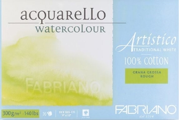Picture of Fabriano Artistico Watercolour Blocks Rough 300GSM 23X30.5CM (20 Sheets)