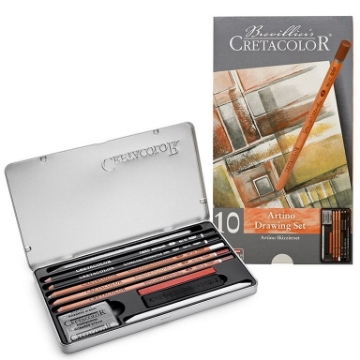 Picture of Cretacolor Artino Drawing Set Of 10 - Tin Box