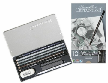 Picture of Cretacolor Artino Watersoluble Graphite Set of 10 - Tin Box