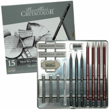 Picture of Cretacolor Silver Box Graphite Drawing Set of 15 - Tin Box