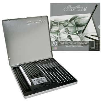 Picture of Cretacolor Black Box Charcoal Pencils Drawing Set of 20 - Tin Box
