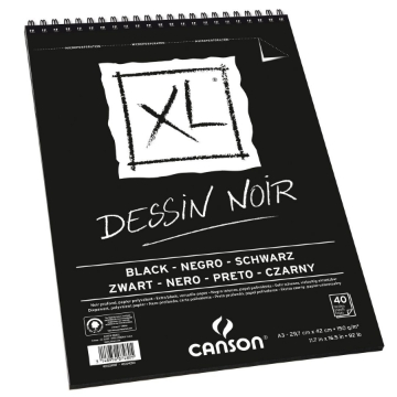 Picture of Canson XL Black Pad  150gsm A3 - spiral bound (40 Sheets)