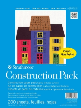 """Picture of Strathmore 100 Series Youth Construction Paper Sheets - 9""""x12"""" Assorted Colors Bulk Pack Of 200 Sheets"""