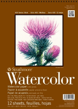 """Picture of Strathmore 400 Sereis Watercolor Pad - Wire Bound - Cold Pressed - 300 gsm 9""""x12"""" 12 Sheets"""