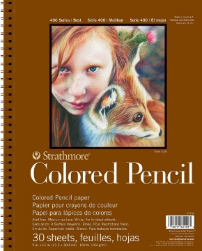 """Picture of Strathmore 400 Series Colored Pencil Pad - Wire Bound - 163 gsm 9""""x12"""" 30 Sheets"""