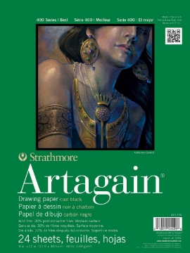 """Picture of Strathmore 400 Series Artagain Pad Coal Black - Glue Bound - 160 gsm 9""""x12"""" 24 Sheets"""