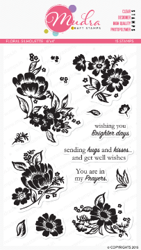"Picture of Mudra Photopolymer Stamps - Floral Silhouette 6""x4"""