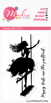 "Picture of Mudra Photopolymer Stamps - Happy Girl 3""x2"""