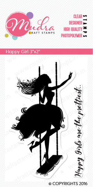 """Picture of Mudra Photopolymer Stamps - Happy Girl 3""""x2"""""""