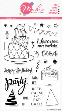 "Picture of Mudra Photopolymer Stamps - Let's Party 6""x4"""