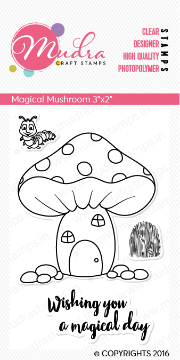 "Picture of Mudra Photopolymer Stamps - Magical Mushroom 3""x2"""