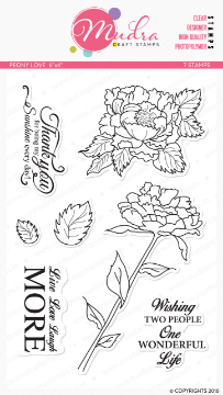 "Picture of Mudra Photopolymer Stamps - Peony Love 6""x4"""