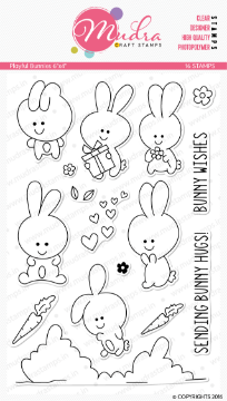 "Picture of Mudra Photopolymer Stamps - Playful Bunnies 6""x4"""