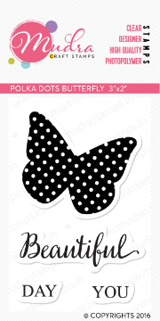 "Picture of Mudra Photopolymer Stamps - Polka dots Butterfly 3""x2"""