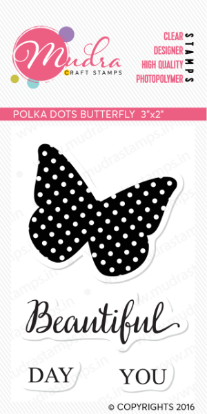 """Picture of Mudra Photopolymer Stamps - Polka dots Butterfly 3""""x2"""""""
