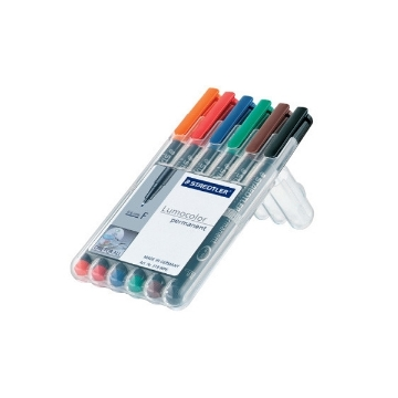 Picture of STAEDTLER Lumocolor Permanent Pen Set of 6 (Fine Tip 0.6mm)