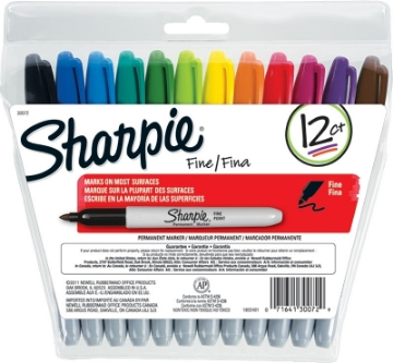 Picture of Sharpie Fine Permanent Marker Set of 12 Colours (Assorted)