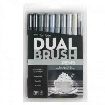 Picture of Tombow Dual Brush Pen Set 10 - Grayscale Palette
