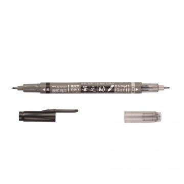 Picture of Tombow Fudenosuke Twin Tip Dual Brush Pen Black & Grey