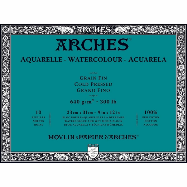 Picture of Arches Watercolor Paper Block Cold Pressed 640gsm 23x31cm 9x12inch