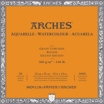 "Picture of Arches WC 4 Side Glued BLOCK 300Gsm Rough Grain 31x31Cm (12""x 12"")"