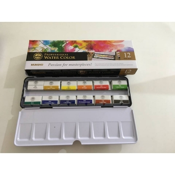 Picture of Mungyo Professional Water Color Full Pan Set 12 Colours