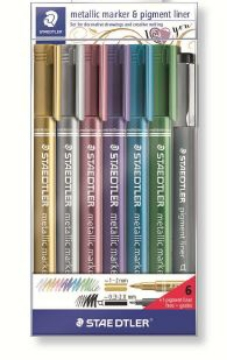 Picture of Staedtler Metallic Markers Assorted Set of 6 + 1 Pigment Liner (Free)