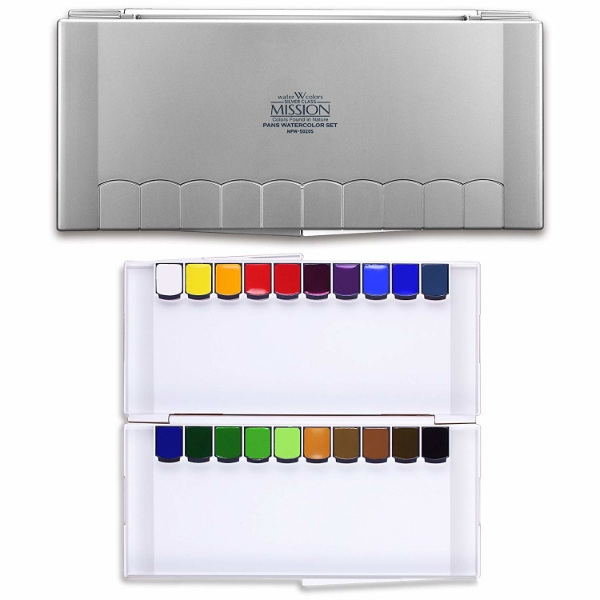 Picture of Mijello Mission Silver Class Pans Watercolor Set of 20