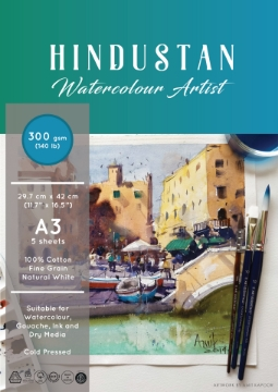 Picture of Hindustan Watercolour Artist Paper 300gsm Polypack A3 (100% Cotton) 5 Sheets
