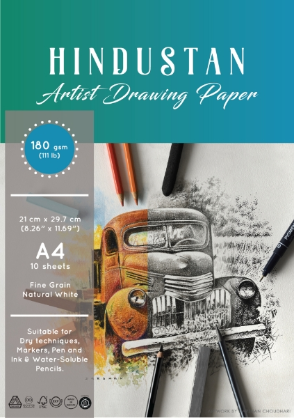 Picture of Hindustan Artist Drawing Paper 180gsm Polypack A4 10 Sheets