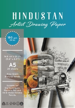 Picture of Hindustan Artist Drawing Paper 180gsm Polypack A5 20 Sheets