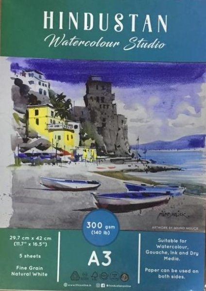 Picture of Hindustan Watercolour Studio Paper 300gsm Polypack A3