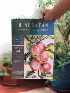 Picture of Hindustan Artist Watercolour Sketchbook Cold Pressed 300Gsm-A4 (20 Sheets) Spiral Bound