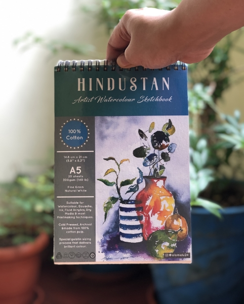 Picture of Hindustan Artist Watercolour Sketchbook Cold Pressed 300Gsm-A5 (20 Sheets) Spiral Bound