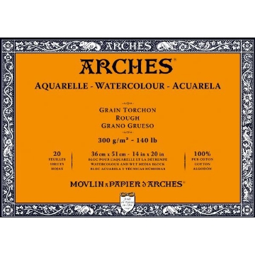 Picture of Arches Watercolor Paper Block-300GSM-36x51CM-14x20INCH-Rough OS