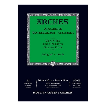 "Picture of ARCHES WC Pad Fine Grain 300Gsm (CP) 26X36CM (10""x 14"")"