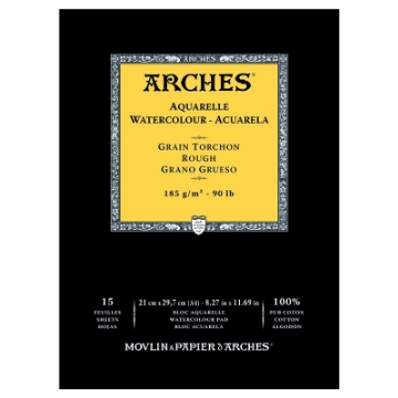 Picture of Arches Watercolor Paper Pad-185GSM-21x29.7CM-8x12INCH-Rough