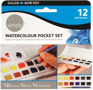 Picture of Daler Rowney Watercolour Pocket Set of 12-Half pan Box