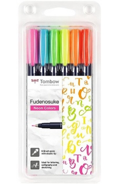 Picture of Tombow Brush Pens Fundenosuke Neon Colors Set of 6