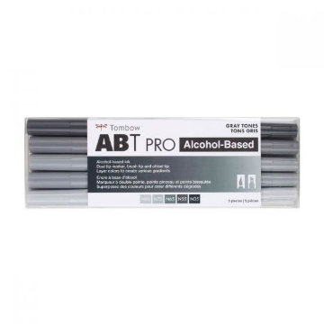 Picture of Tombow ABT Pro Dual Brush Pen-Gray Tones Set of 5