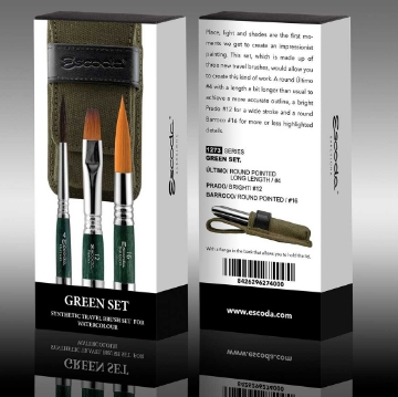 Picture of Escoda Green Synthetic Travel Brush Set Series 1273