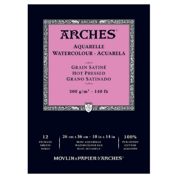 Picture of Arches Watercolor Paper Pad-300GSM-26x36CM-10x14INCH-Hot Pressed